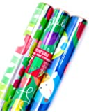 Hallmark Holiday Reversible Wrapping Paper (Kids, 3 Pack)