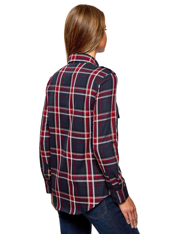 oodji Ultra Donna Camicia a Quadri con Tasche su Petto