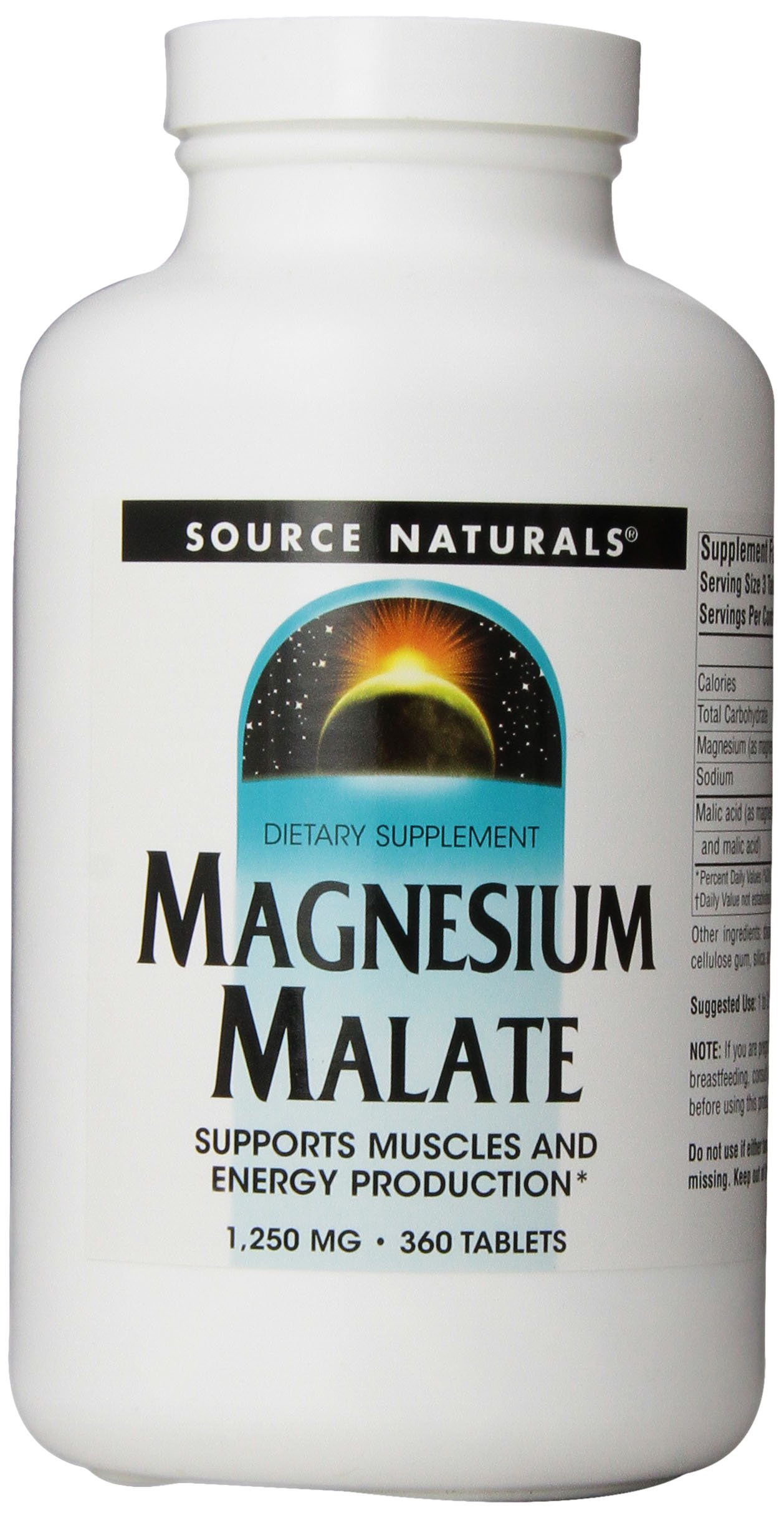 Source Naturals Magnesium Malate 1250mg, Supports Muscles and Energy Production,360 Tablets