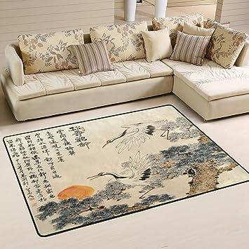 Naanle Traditionelle Japanische Malerei Rutschfeste Bereich Teppich Für  Living Eßzimmer Schlafzimmer Küche, 50 X 80