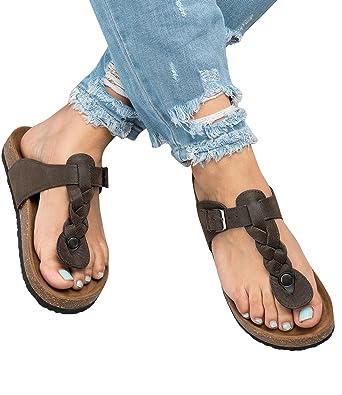 90ea5bf09bf0e Amazon.com  Pxmoda Women s Boho Braided Wedge Sandals Casual T-Strap Wedge  Heel Sandal Shoes  Clothing