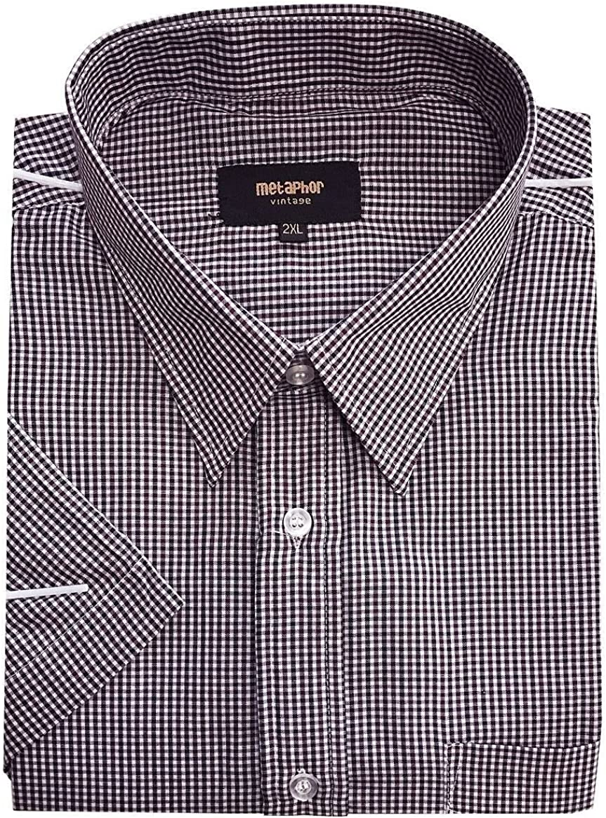 in Size 2XL to 8XL 14312 Metaphor Mens Poly Cotton Checked Smart Casual Shirt