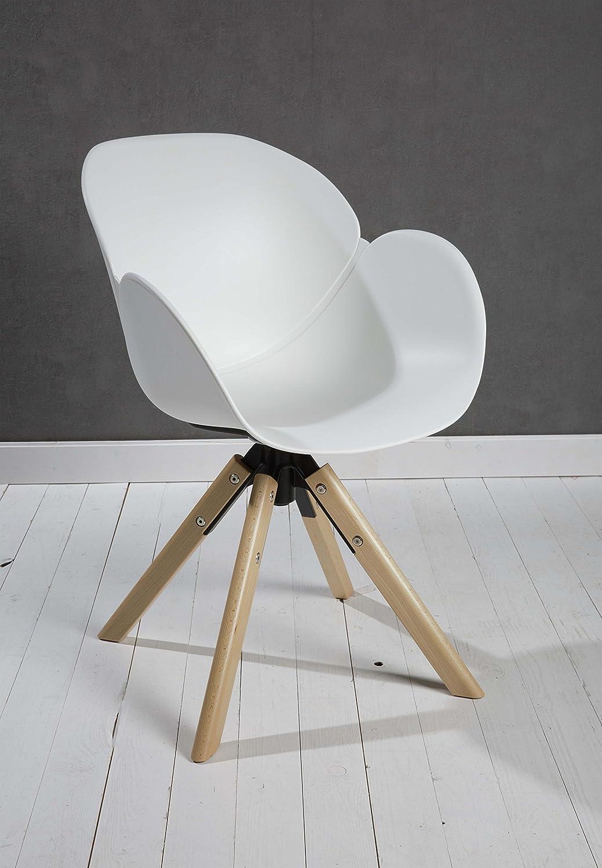 Wholesaler GmbH Designer Esszimmerstuhl Kunststoff weiß drehbar mit Armlehnen und Rückenlehne Retrodesign mit Holzbeinen