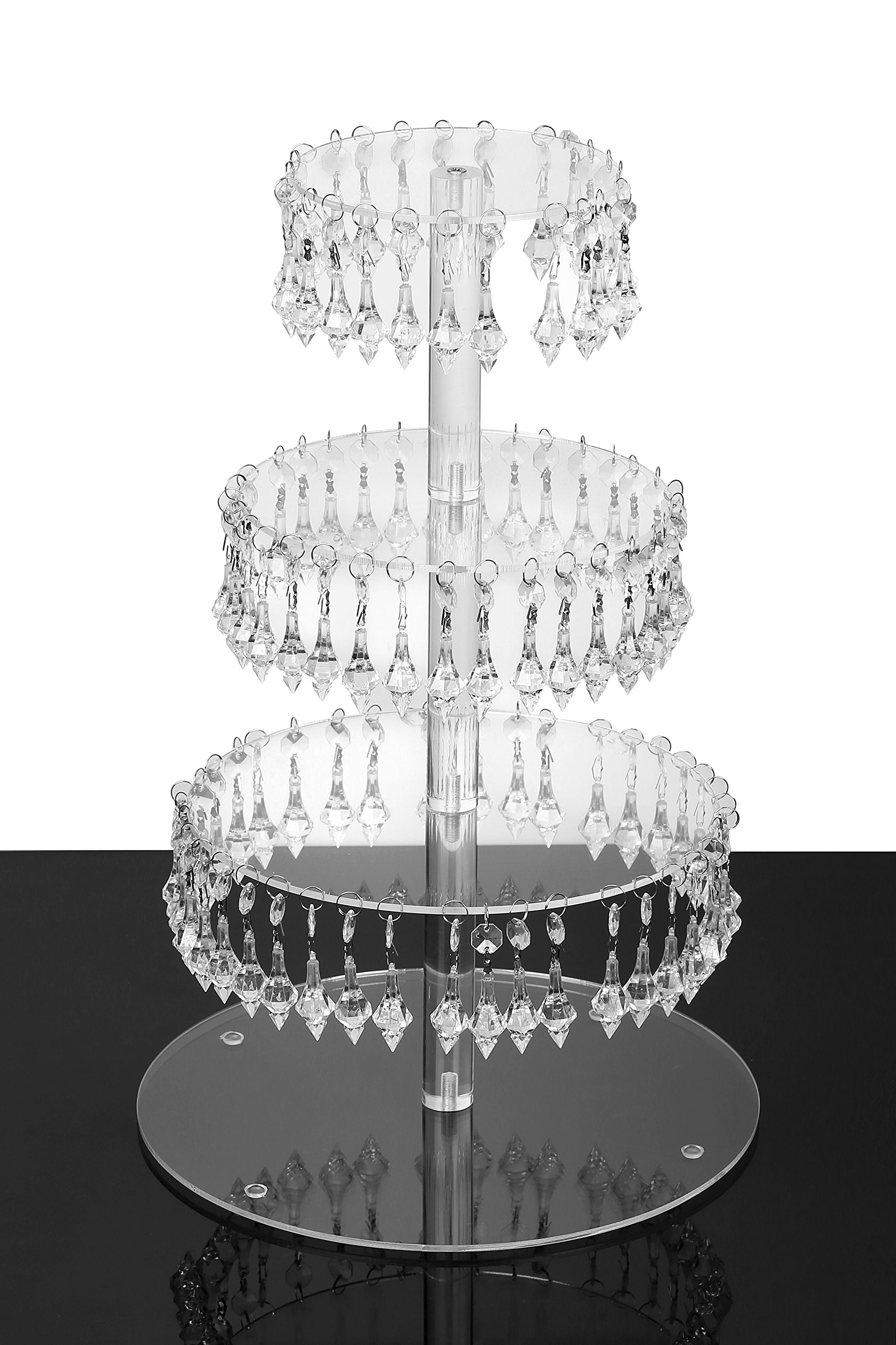 YestBuy Pendant Drill 4 Tier Round Acrylic Cupcake Stand 1 pc/Pack ¡
