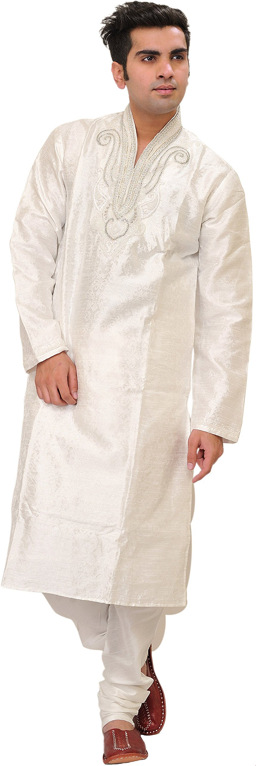 Exotic India Bright-White Wedding Kurta Pajama Set With Size 40 by Exotic India