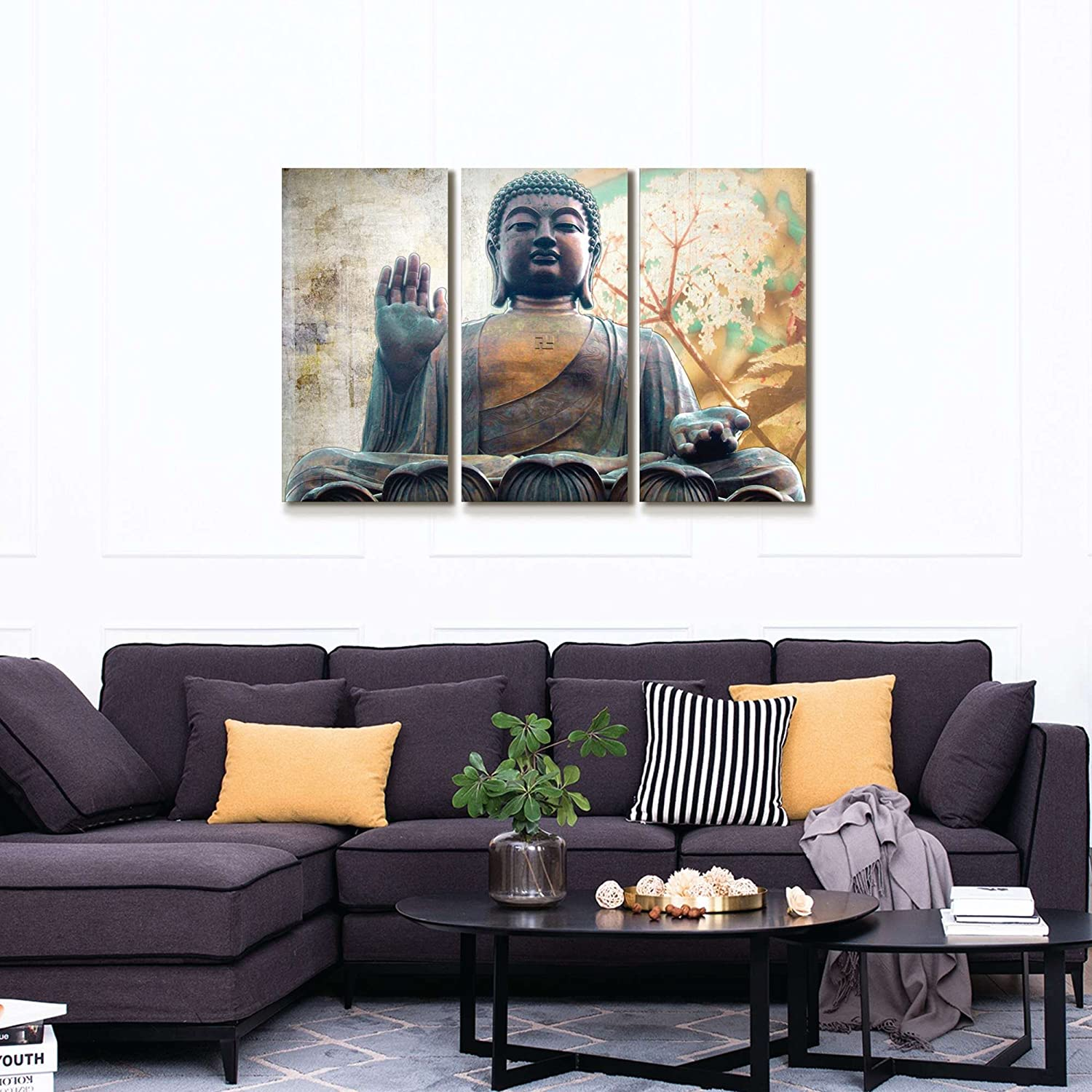 Buddha Wall Art Zen Canvas Print Buddha Statue with Lotus Flowers Pictures  Patina Painting Framed Modern Home Decor for Living Room 24x36inch