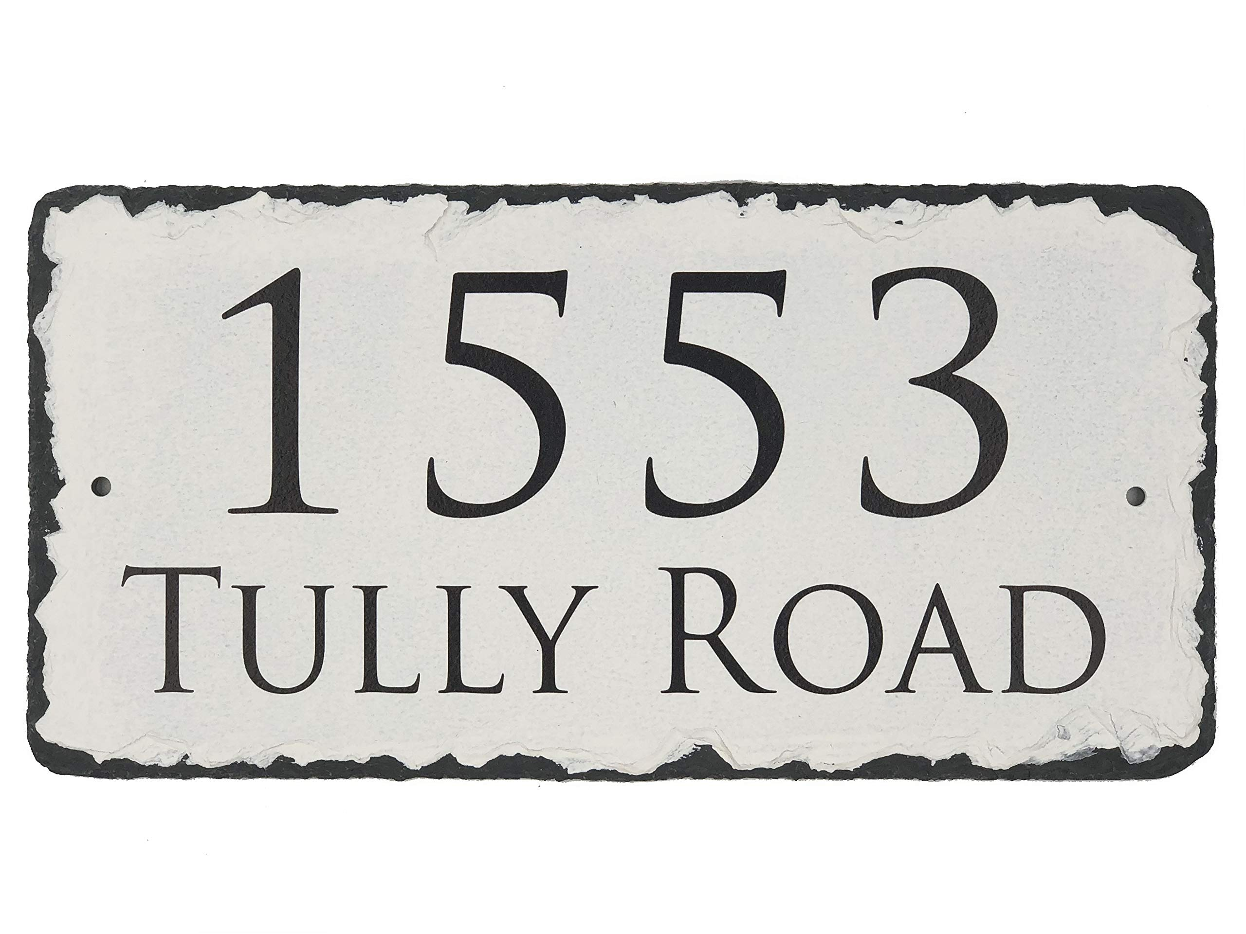 Sassy Squirrel Beautifully Handcrafted and Customizable Slate Home Address Plaque Personalized House Sign with and mounting Hardware. Improve The Curb Appeal of Your Property (18''x8'')