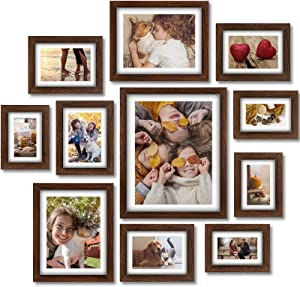 Homemaxs Picture Frames Set, 11 Pcs Picture Frames Collage, Wooden Frames With Mat, Photo Frames for Wall, Tabletop, Gallery, Home Decor, Four 4x6 in, Four 5x7 in, Two 8x10in,One 11x14in, Rustic Brown