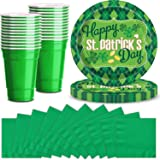 """Saint Patrick's Day Party Supplies for 48 - Shamrock Themed Large Paper Plates 9"""", Napkins 5"""", Plastic Green Cups 16oz - Grea"""