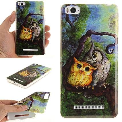 Guran® Silicona Funda Carcasa para Xiaomi Mi 4C Smartphone Case Bumper Shock TPU Cover-Pintura al óleo búho