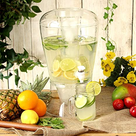 Dispensador de bebidas (plástico, 8 l, con infusor de frutas, base para hielo y tapa fácil de verter, ideal para fiestas y barbacoas), de Andrew James: ...