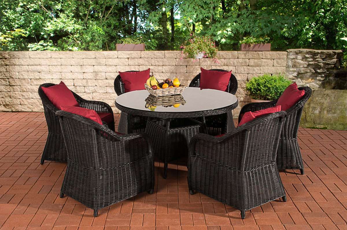 CLP Poly-Rattan Sitzgruppe STAVANGER, Esstisch rund Ø 130 cm, 6 Gartensessel Bezugfarbe rubinrot, Rattan Farbe schwarz