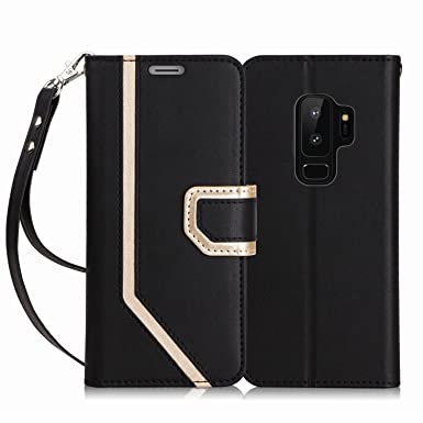 FYY Case for Galaxy S9 Plus, and Kickstand Feature for Samsung Galaxy S9 Plus Black with Prevent Card Information Leaking Technique Inside Makeup Mirror Leather Wallet Case