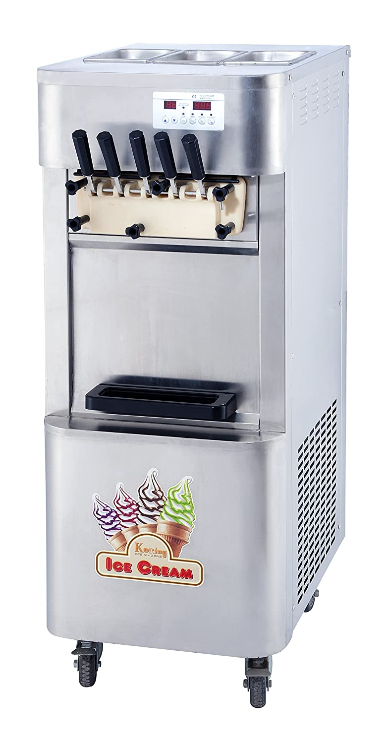 Kolice Ment High Production Capacity 5 Flavors Taylor Soft Serve ice Cream Machine 3+2 Mixed Flavors Soft ice Cream Machine,precooling,auto Counting,Full Refrigerant