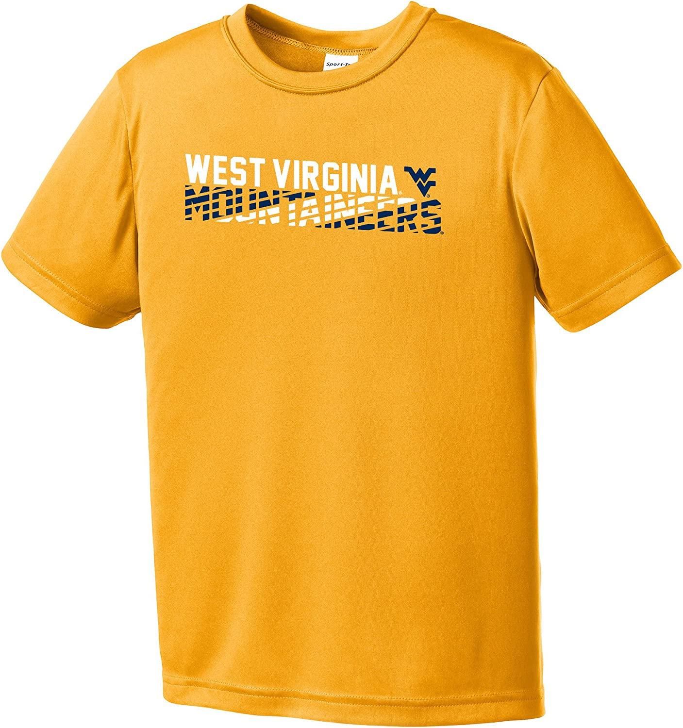 NCAA West Virginia Mountaineers Youth Boys Diagonal Short sleeve Polyester Competitor T-Shirt, Youth Large,Gold