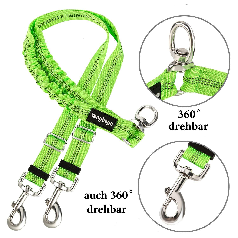 Yangbaga Doppelleine Verstellbar 360/°Drehbar Hundeleine f/ür 2 Hunde f/ür kleine mittelgro/ße und gro/ße Hunde Reflektierende Elastische Leine zum Gehen Trainieren Joggen