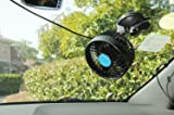 """1-Auto Car Fan Vehicle Fan Adjustment Suction Cup Car Auto Cooling Air Fan - Powerful Quiet Rotatable, Stepless Speed (4.5"""", 12V)"""