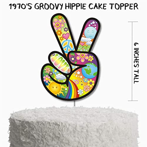 Hippie Party Decorations Groovy Hippie Birthday Party Supplies 1970s Peace Sign Groovy Hippie Birthday Party Cake Topper