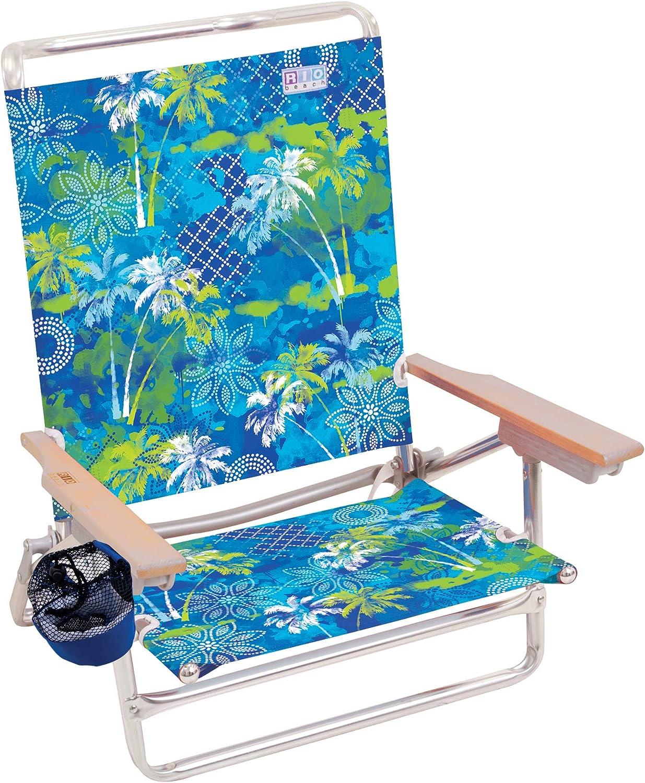 Rio Beach Classic 5 Position Lay Flat Folding Beach Chair Surf Power Blue//Multi Stripe