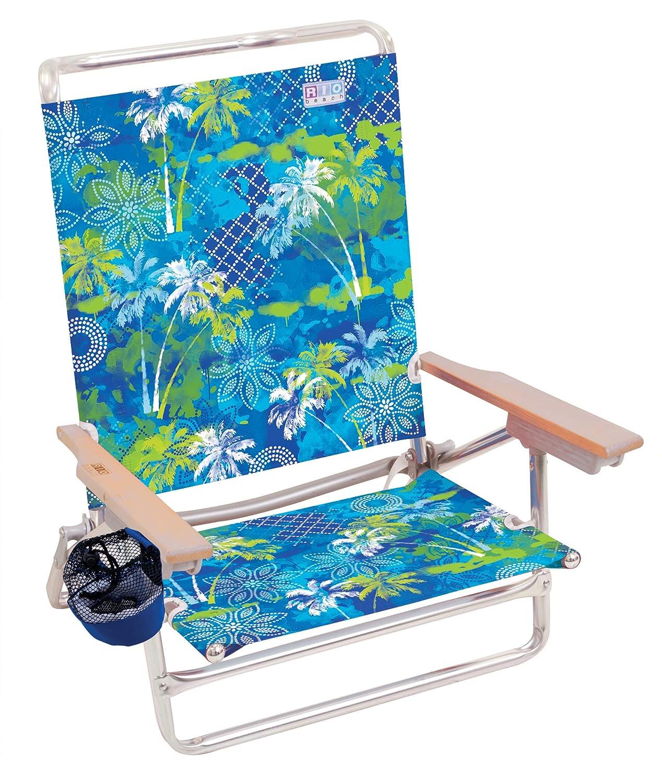 Baja Boho Palms Rio Beach Classic 5 Position Lay Flat Folding Beach Chair