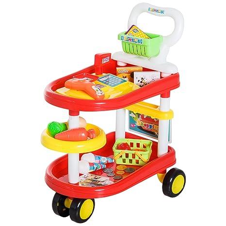 Homcom Carrito de Supermercado 49 Pcs Caja Registradora de Juguete Cesta de Compra 47x30x55cm PP