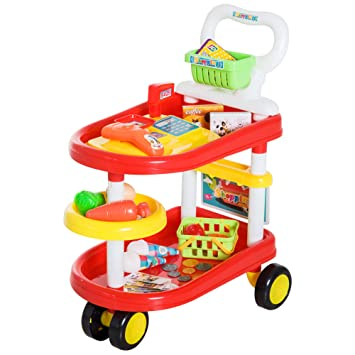 HOMCOM Carrito de Supermercado 49 Pcs Caja Registradora de Juguete Cesta de Compra 47x30x55cm PP: Amazon.es: Juguetes y juegos