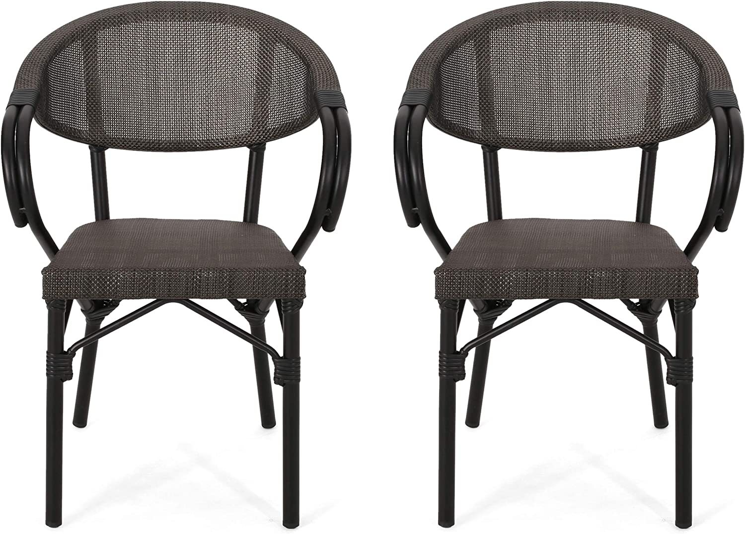 Christopher Knight Home 312342 Wendsy Outdoor Cafe Chair (Set of 2), Black, Dark Brown