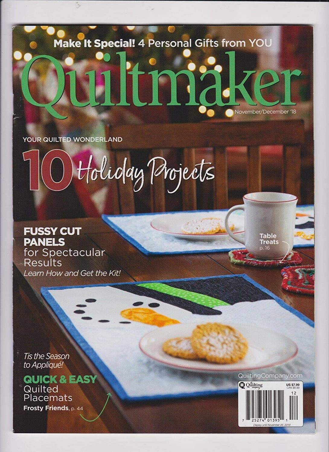 10 HOLIDAY PROJECTS. QUILTMAKER MAGAZINE NOV//DEC 2018