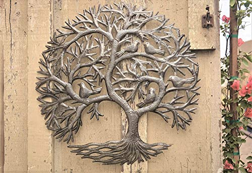 Haitian Tree of Life Wall Decor, Global Art Made in Haiti, Oil Drum Metal Craft with Birds, Decoration for Kitchen or Anywhere in Home, 23 in. x 23 in. Whispering Tree
