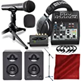 Behringer PODCASTUDIO USB Complete Podcasting Kit w/USB Audio Interface and Studio Monitors Deluxe Accessory Bundle