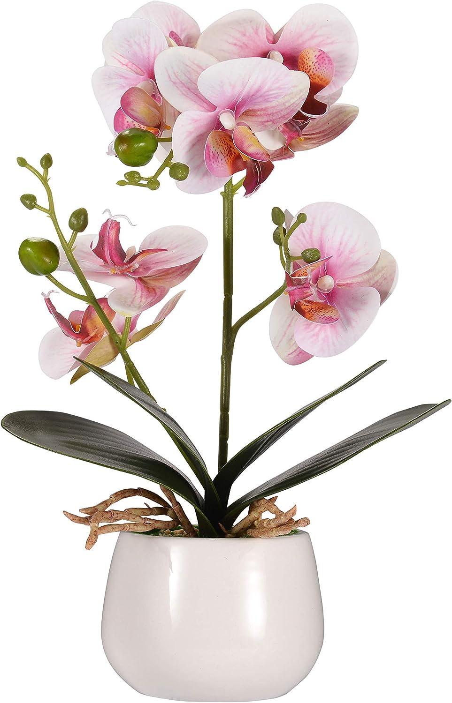 Alicemall Fleur Artificiel Orchidée en Soie pour Décoration de la Maison Bureau Chambre 10x10x35 cm (Rose, Pot en Céramique)