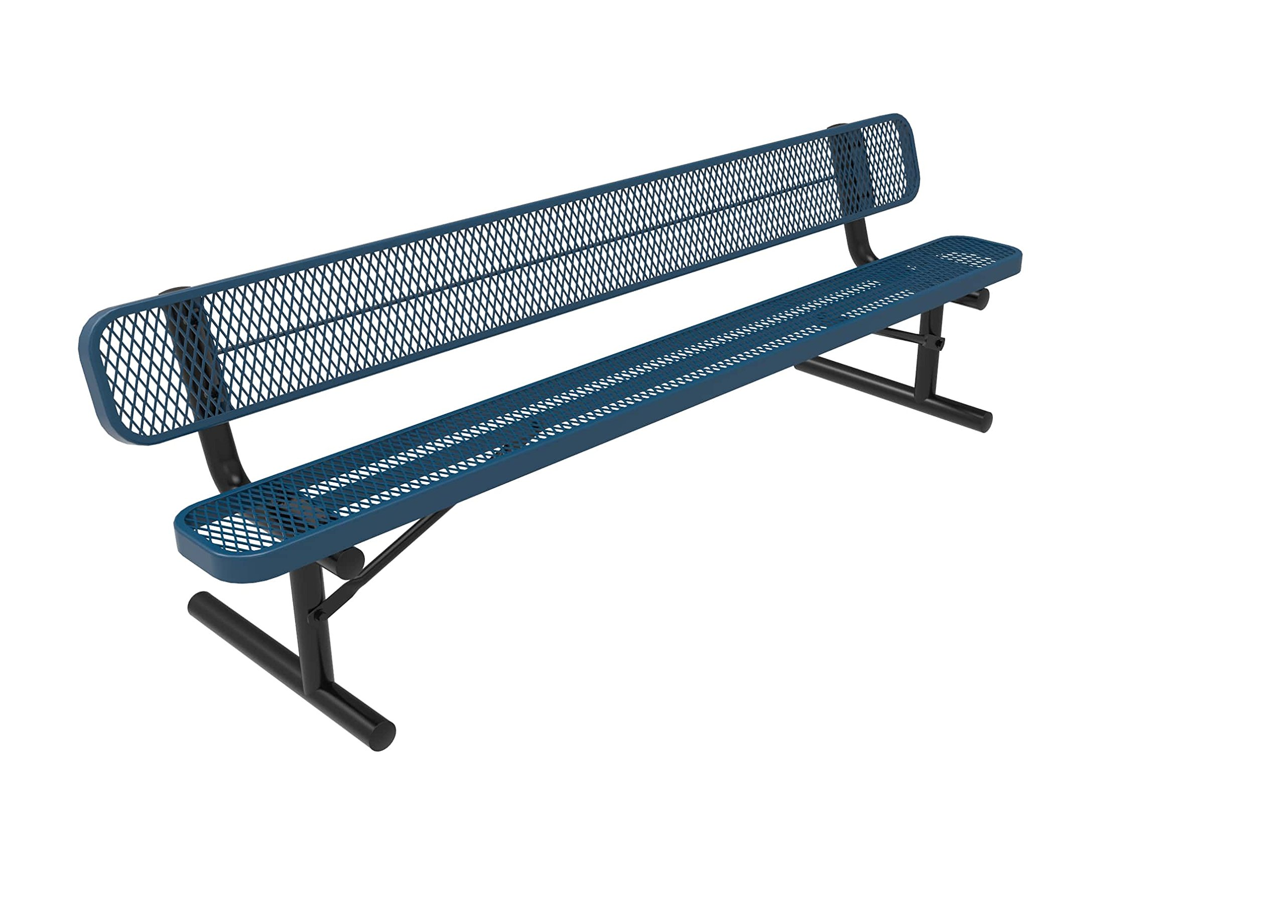 Coated Outdoor Furniture B8WBP-LBL Park Bench with Back, 8 Feet, Light Blue by CoatedOutdoorFurniture