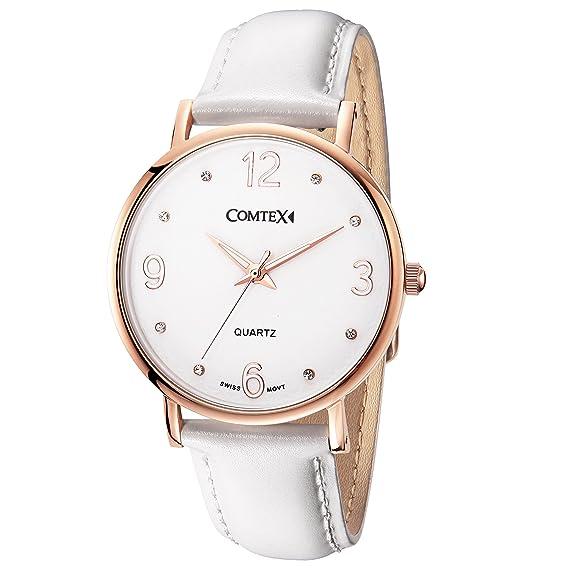 COMTEX de la mujer relojes oro rosa correa de acero inoxidable blanco correa de piel Swiss