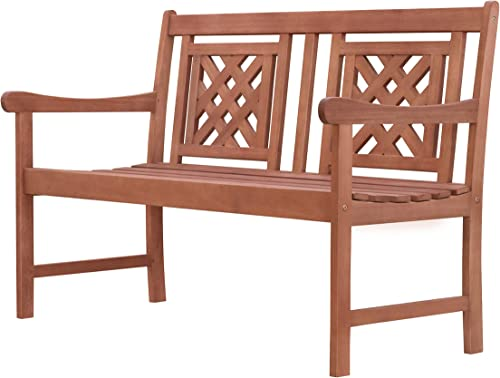 Vifah V1836 Tivoli Outdoor Patio Plaid 4-Foot Eucalyptus Hardwood Bench, Decorative, Natural Wood