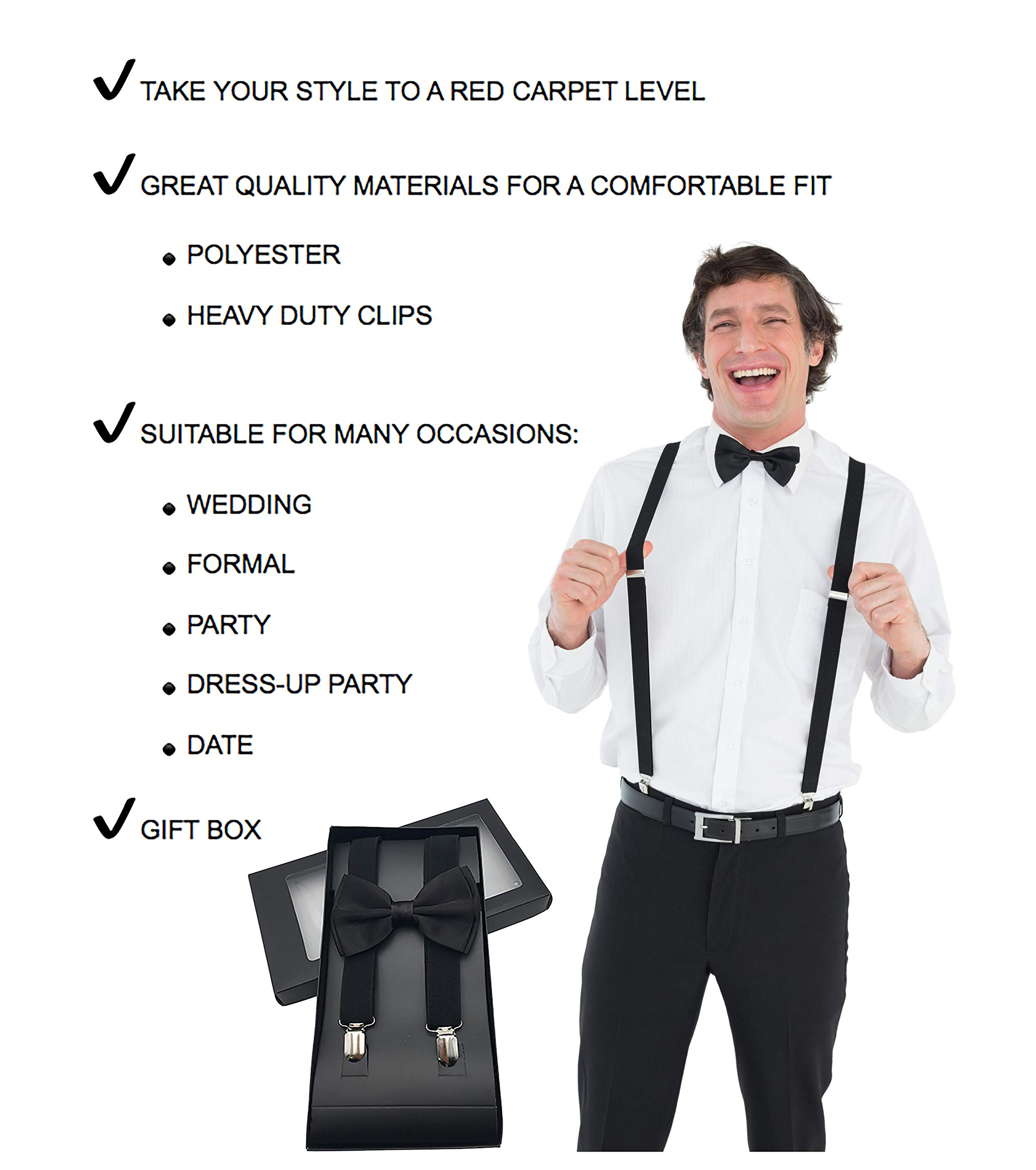 Y-Back Suspenders and Bow Tie Matching Set, Pre-Tied, Clip Design, Elastic, Adjustable Straps, Classic   Great for Weddings,Parties,Graduations, Theme Party   Nice&Unique Gifts for Men (Royal Blue) by Coster (Image #6)