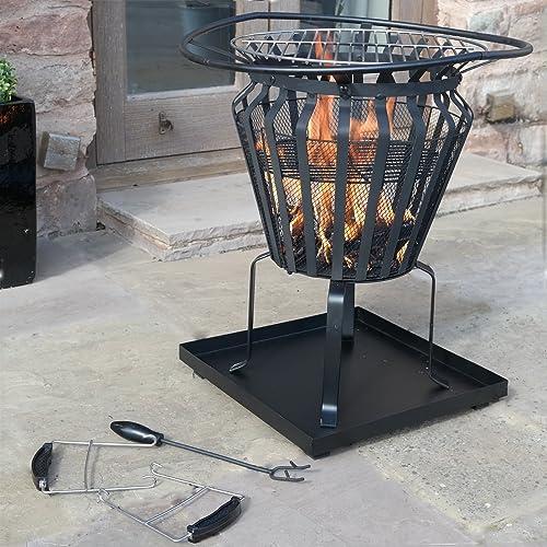 Victoria Fire Basket Metal Outdoor Patio Log Burner Brazier Wood BBQ Heater Pit