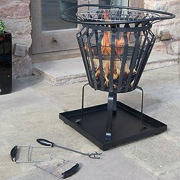 Cesta para hoguera de metal Victoria para el aire libre o patio, para quemar leña, madera, brasero, barbacoa: Amazon.es: Jardín