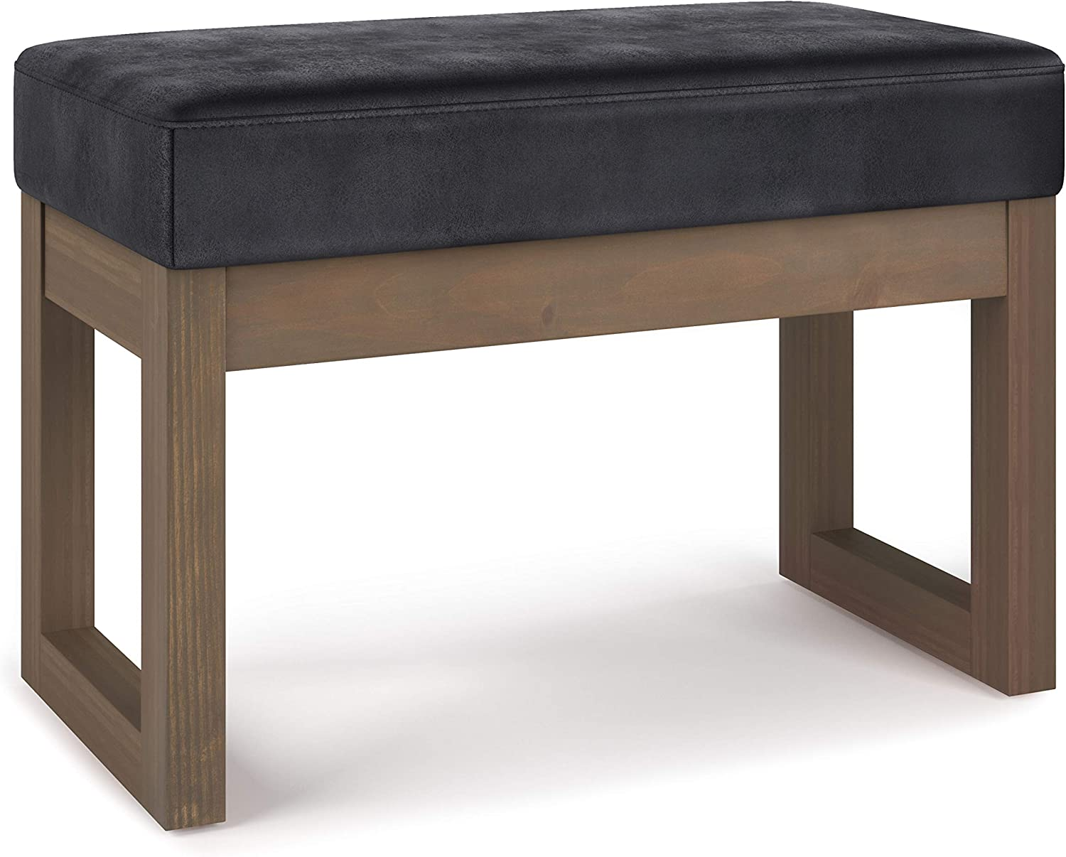 SIMPLIHOME Milltown 26 inch Wide Contemporary Rectangle Footstool Ottoman Bench in Distressed Black Faux Air Leather, for Living Room, Bedroom