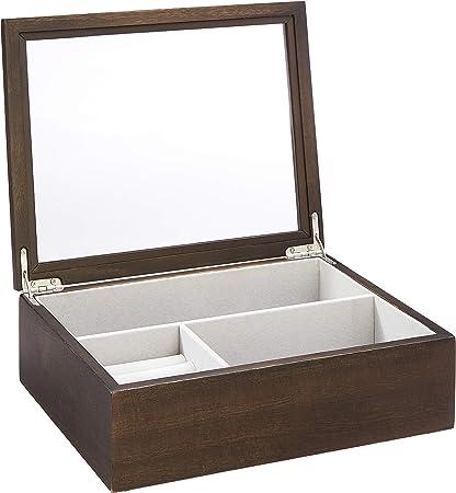 AmazonBasics – Joyero-relojero de madera con tapa de cristal, marrón nogal: Amazon.es: Hogar