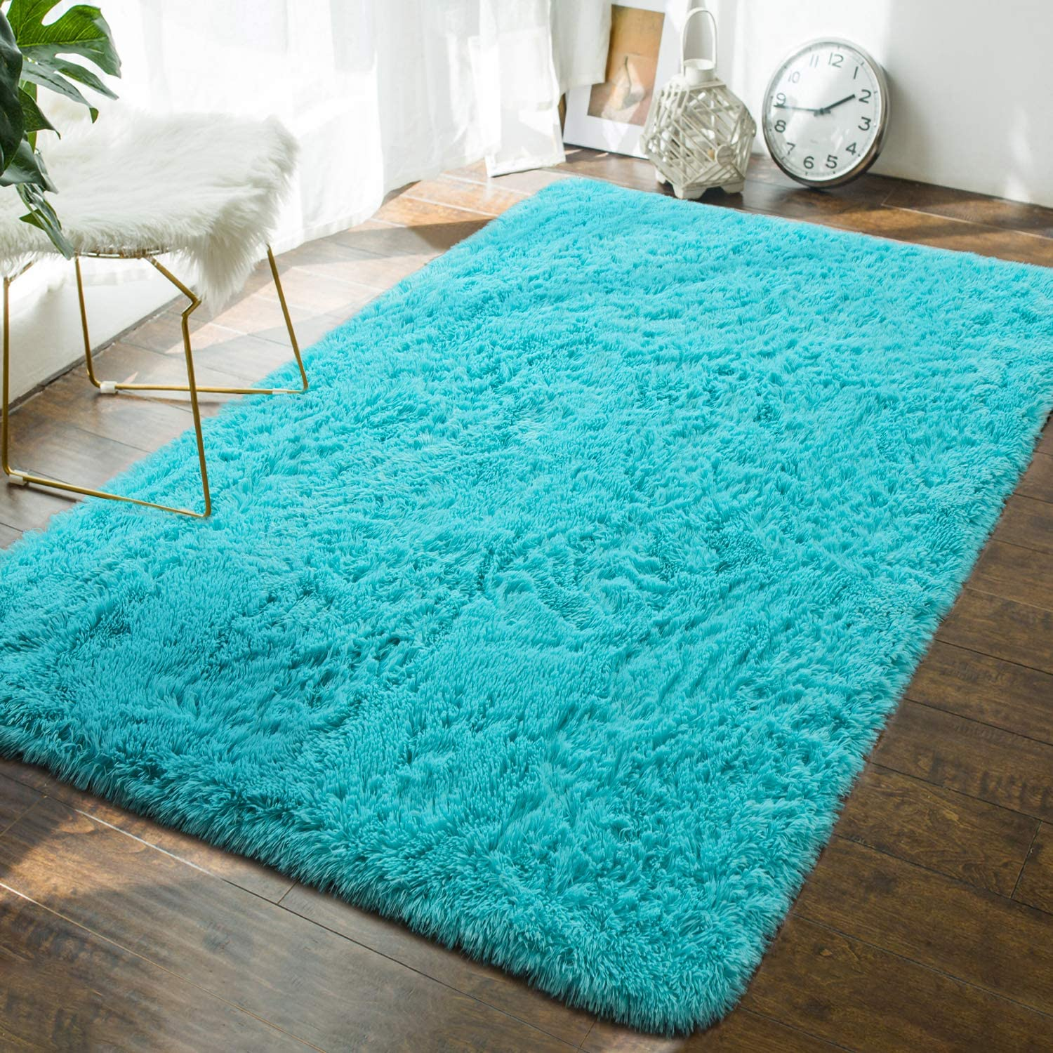 Andecor Soft Fluffy Bedroom Rugs - 4 x 6 Feet Indoor Shaggy Plush Area Rug for Boys Girls Kids Baby College Dorm Living Room Home Decor Floor Carpet, Teal Blue