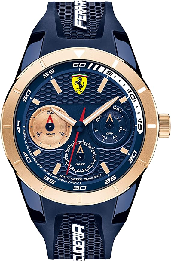 Scuderia Ferrari Men S Watch Redrev T Chronograph Blue Rose Gold 44 Mm 830379 Amazon De Uhren