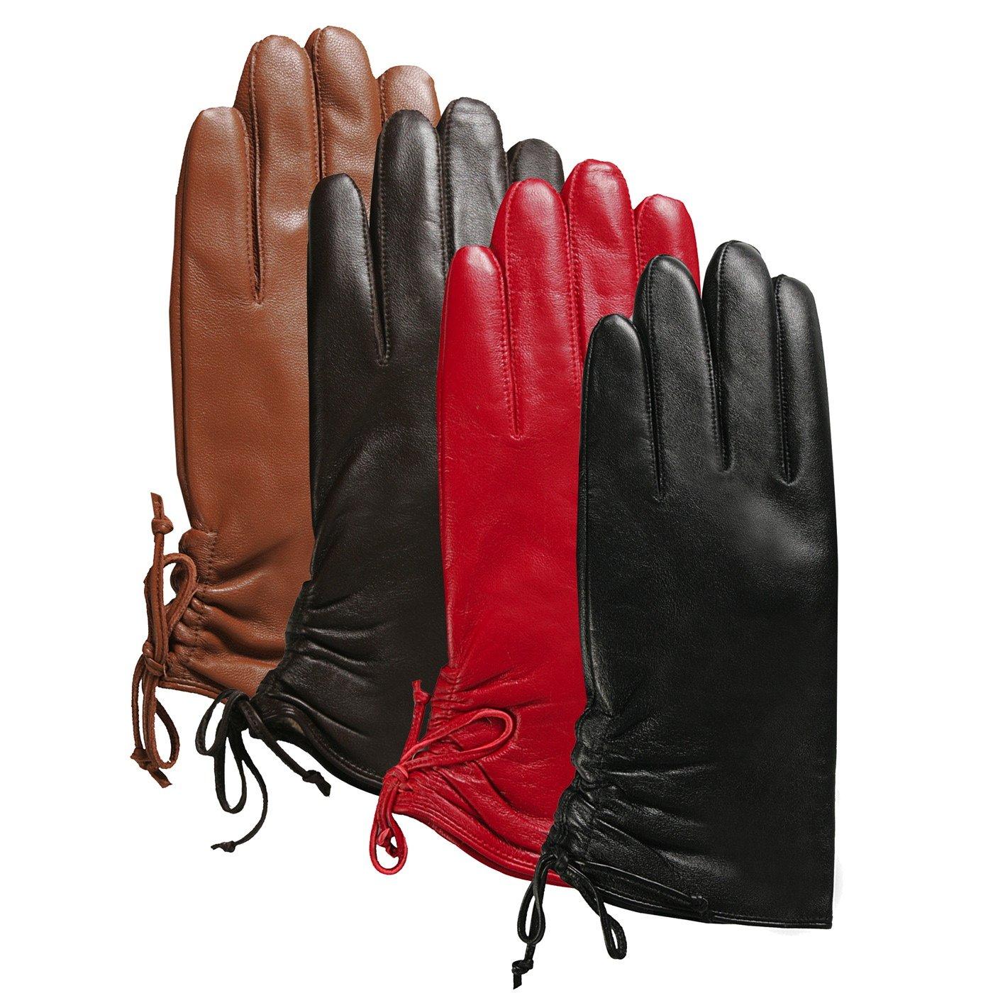 Luxury Lane Women's Lambskin Leather Ruched Tie Gloves - Tobacco M