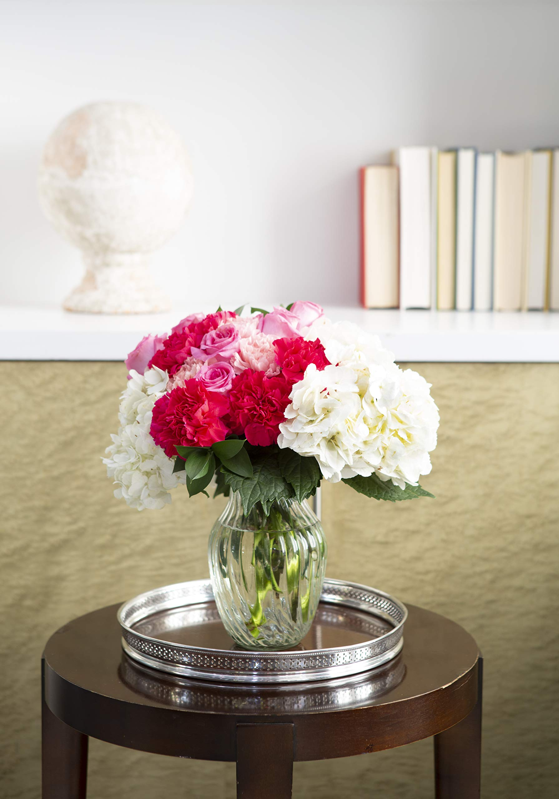 KaBloom Let Them Eat Cake Bouquet of Pink Roses and White Hydrangeas with Vase by KaBloom (Image #6)