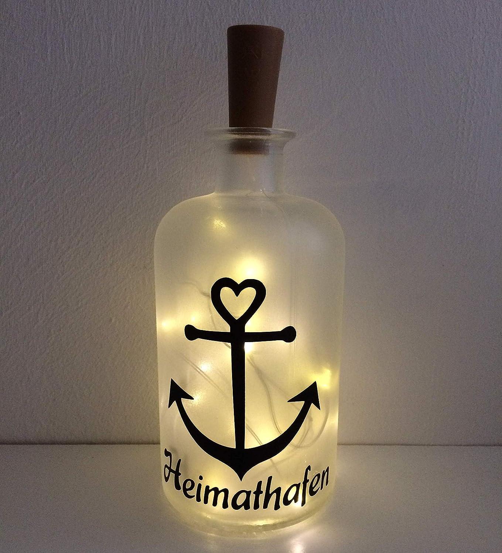 Flaschenlicht individuell LED Lichterkette Anker Heimathafen