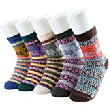 JOYEBUY 5 Pairs Warm Winter Fall Women Socks Retro Floral Style Cotton Knitting Wool Crew Socks