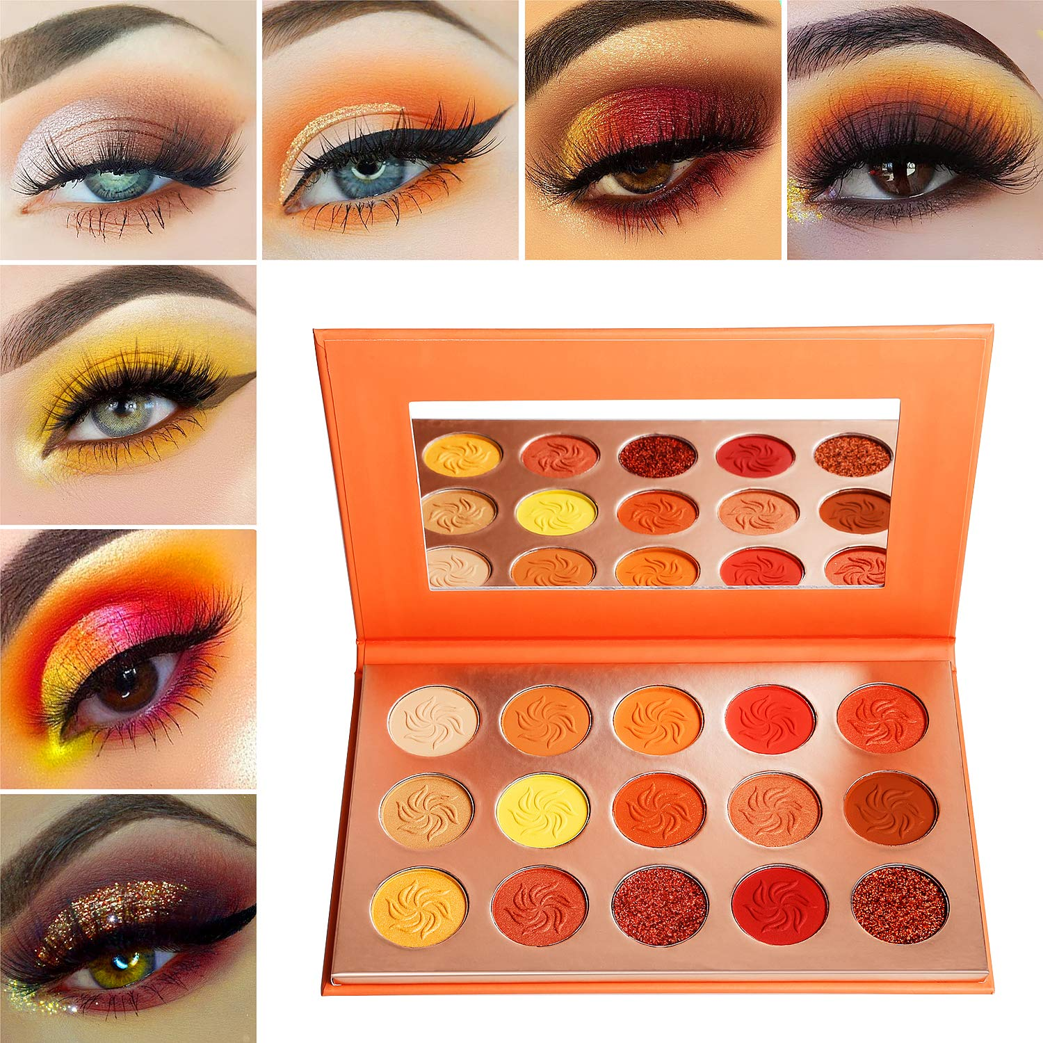 Red Orange Eyeshadow Palette Sunset 15 Color,Afflano Pro Highly Pigmented  Glam Fall Eye Shadow Makeup Palettes,Nudetude Neutral Brown Yellow Gold