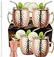 LIVEHITOP Juego 4 Copas Mule Moscow, 18 Oz Cobre Taza con 4 Posavasos, 4 Pajitas, Jigger y cepillo Paja, Regalo para él y para Ella para el Hogar, el Bar, la Fiesta