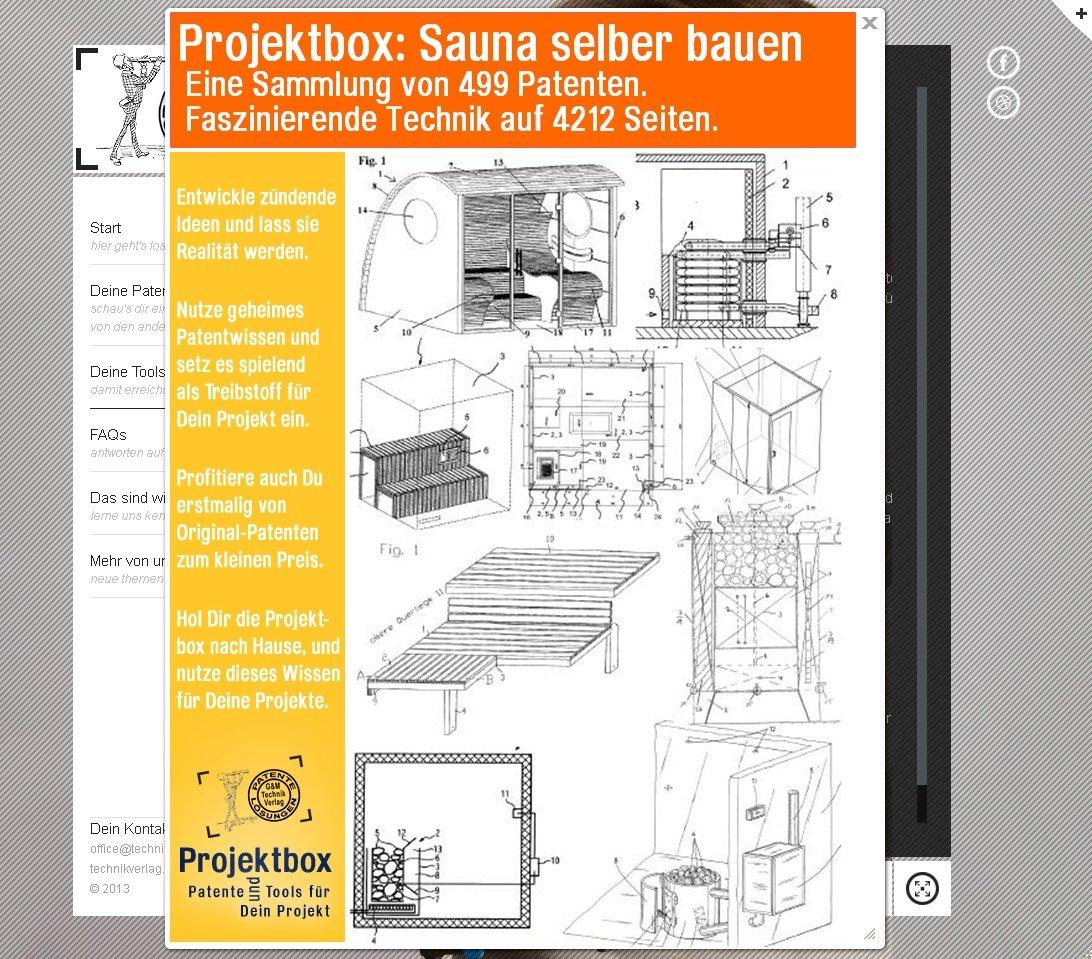 Sauna selber bauen: Deine Projektbox inkl. 499 Original-Patenten ...