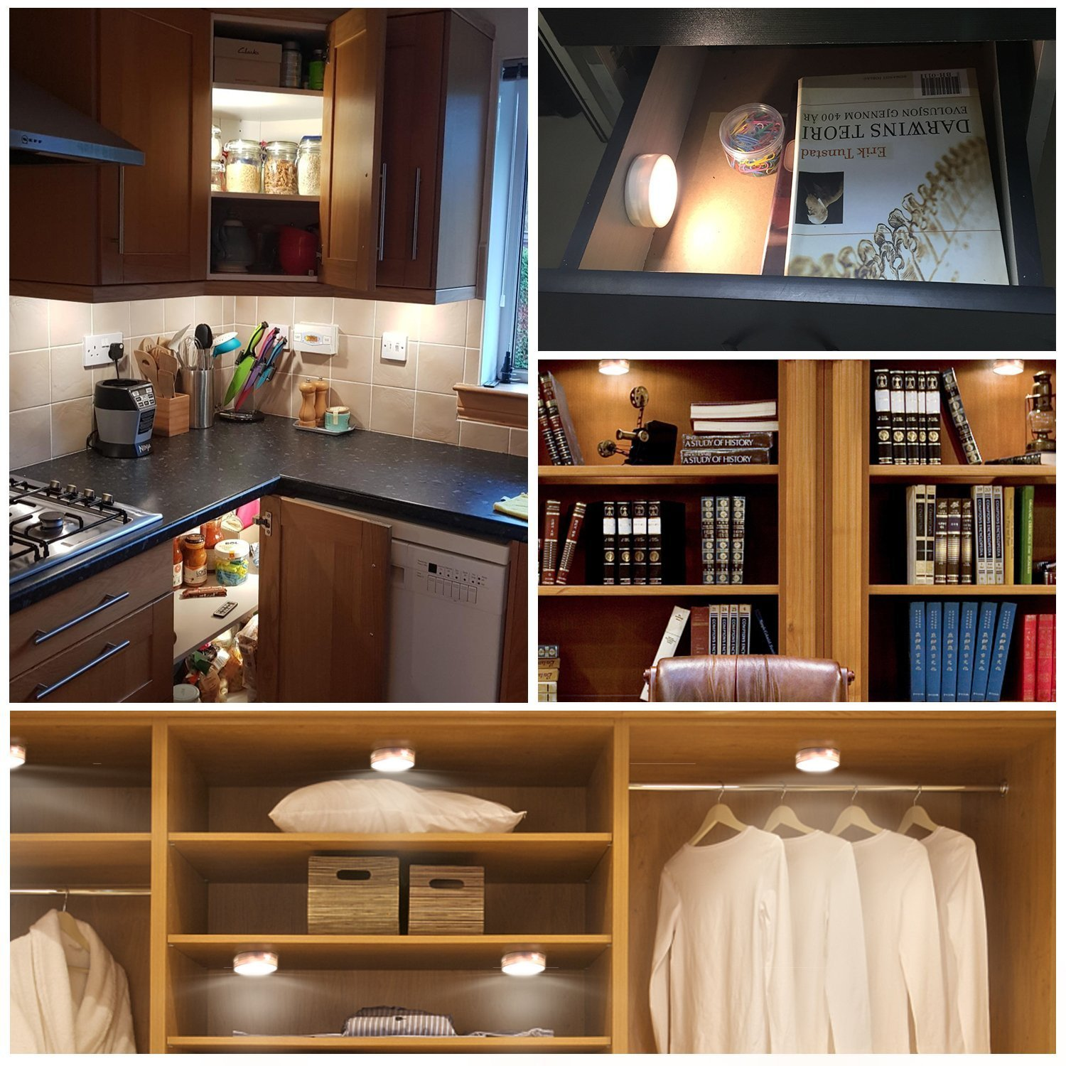 SALKING LED Under Cabinet Lighting, Wireless LED Puck Lights with Remote Control, Dimmable Closet Light, Battery Powered Under Counter Lights for Kitchen, Natural White 6 Pack by Salking (Image #6)