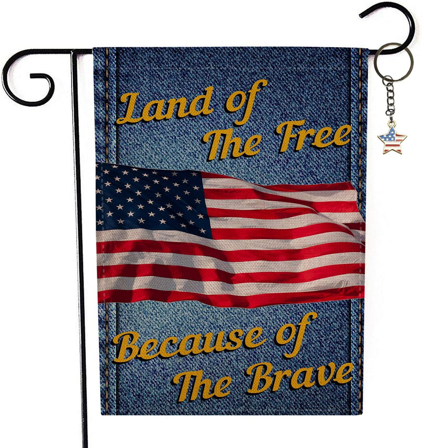 Amazon Com Angeloken Land Of The Free Because Of The Brave Vintage Garden Flags Yard Flag Vertical Double Sided Burlap Season House Flags Farm Lawn Outdoor Decor Garden Banner 12 5 X 18